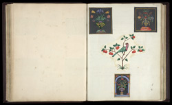 Three small panels of Florentine pietra dura, as well as a large Mughal panel, installed at the back of the throne in the jharokha of the Diwan-i 'Am in the Delhi Palace.